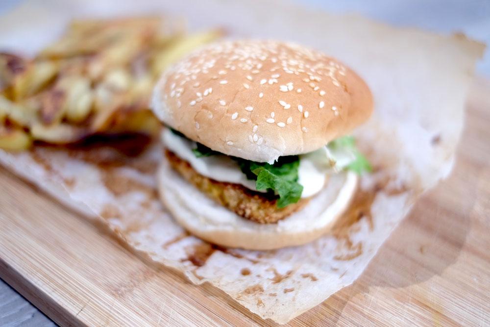 Vegan crispy tofu burger