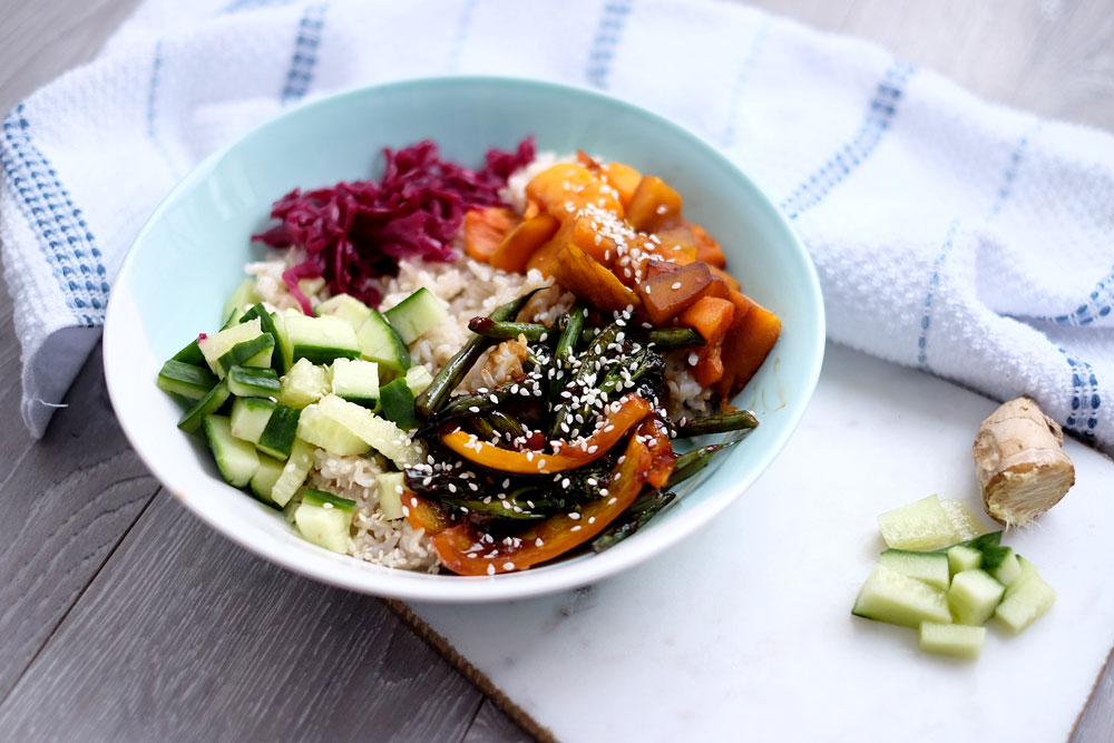 Vegetarian donburi bowl recipe