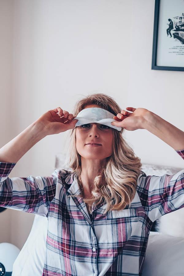 Girl wearing sustainable eyemask