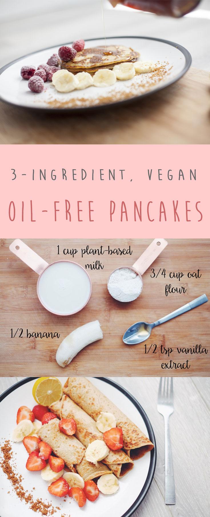 Oil-free vegan pancakes Pinterest