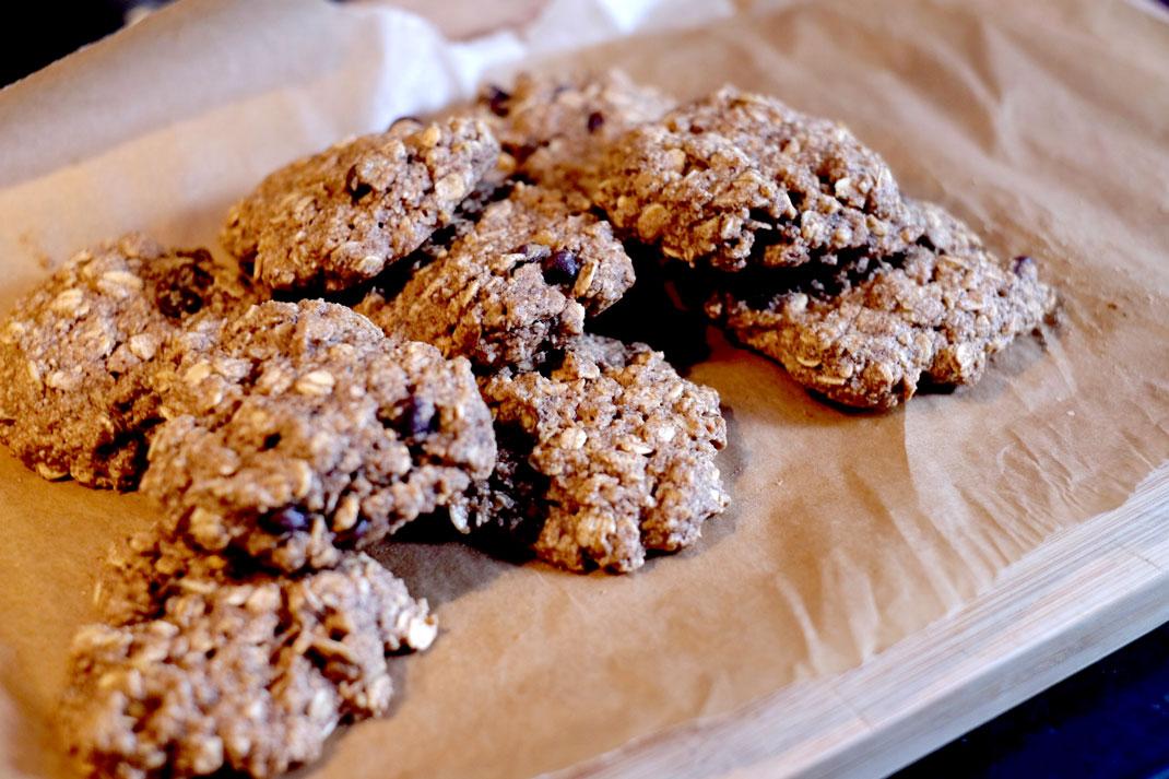 Cookies on brown paper