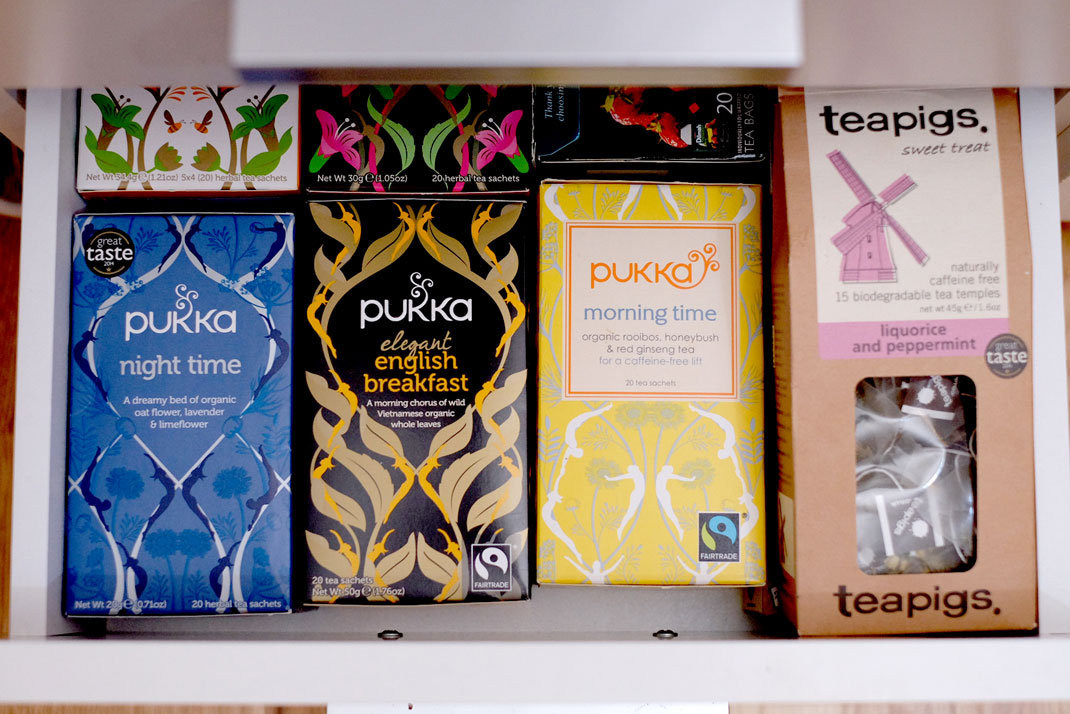 Herbal teas in drawer