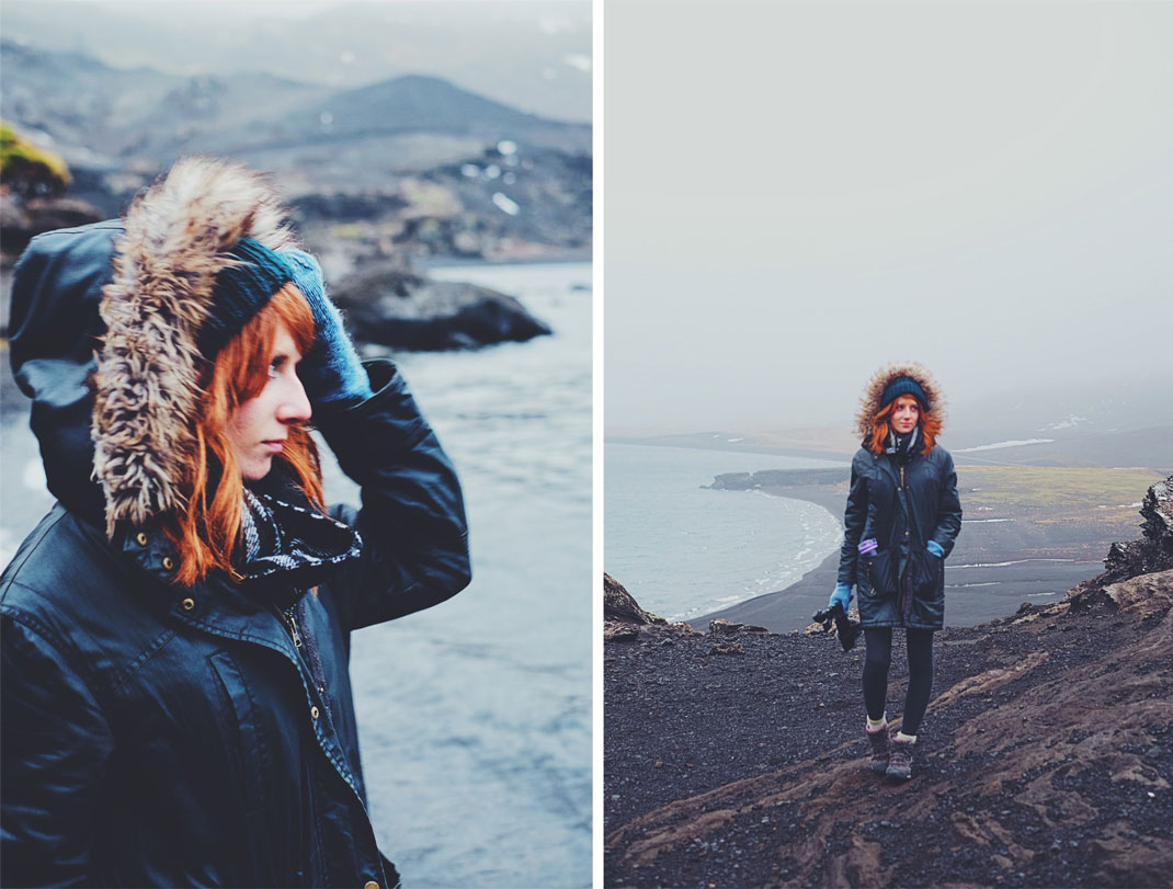 Red-haired girl in Reykjanes mountains