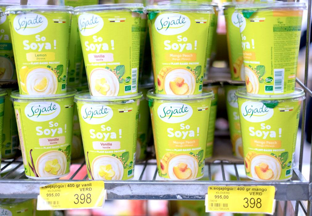 Sojade soy yoghurt in supermarket