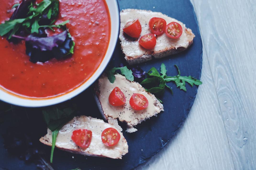 Tomato soup on slate
