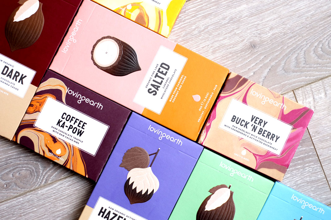 Loving Earth raw vegan chocolate in boxes