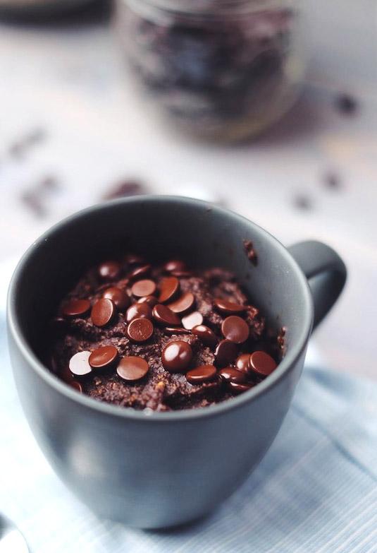 Vegan chocolate brownie mug cake