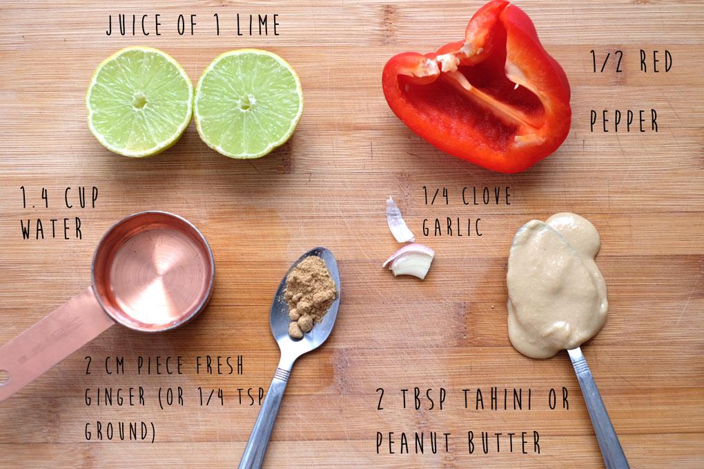 Raw thai dressing ingredients