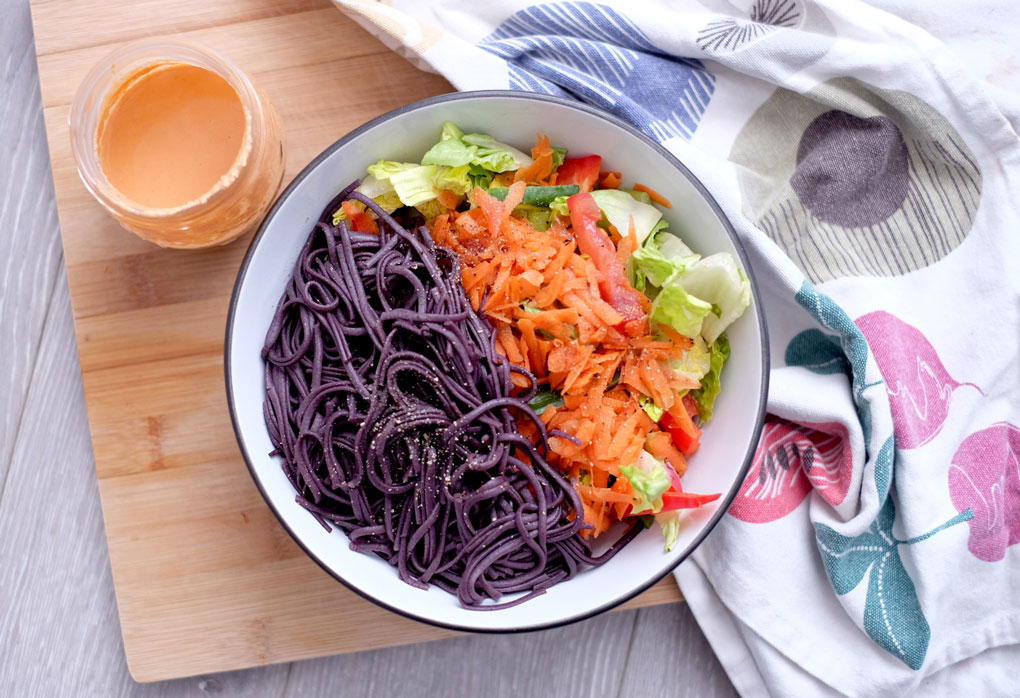 Black rice noodle salad