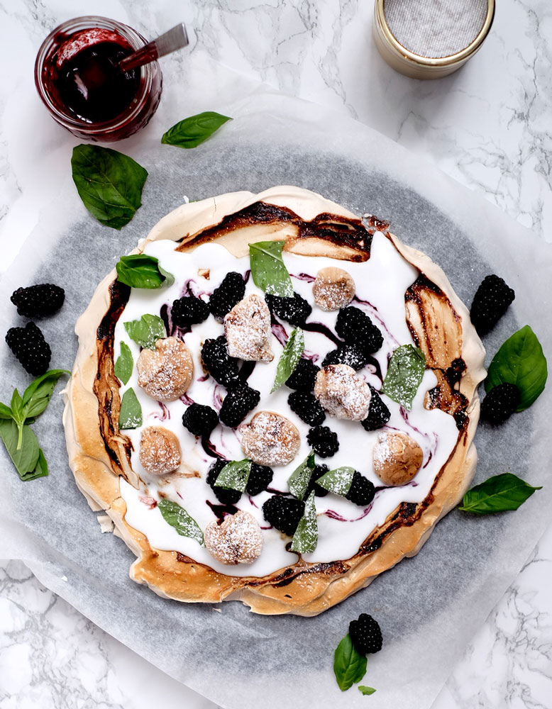 Vegan blackberry pavlova