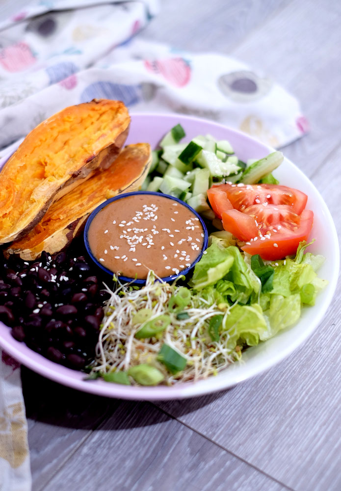 Vegan ginger miso buddha bowl