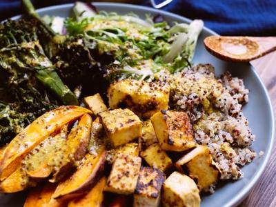 Vegan miso mustard nourish bowl
